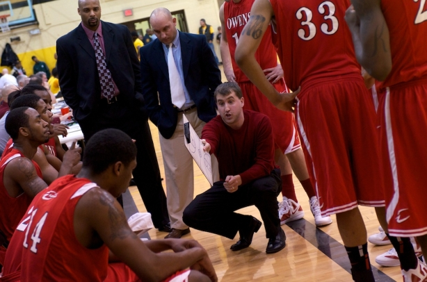Owens head coach Dave Clarke won his first game versus Mott in three attempts on Wednesday night. The Express snapped no. 1-ranked Mott's 27-game winning streak.