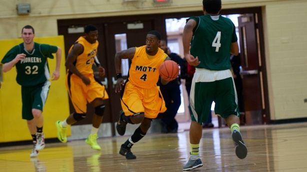 Mott sophomore Kortez Ross leads the break on Saturday afternoon in Mott's 78-47 win over Delta College.