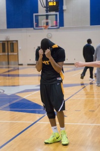 Mott forward Ruston Hayward reacts after missing two late free throws against Lansing Wednesday night.