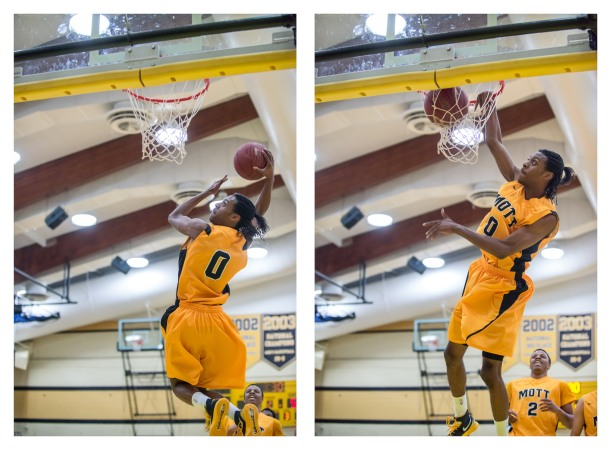 Mott sophomore Malik Albert scored two of his 26 points on a ridiculous 360 dunk in the second half against Delta Wednesday night. (Gerry Leslie photo)